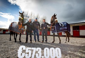 Pictured at Willie McCreery's Rathbride Stables on The Curragh are from left to right: John O'Connor Chairman of the Irish European Breeder's Fund, Willie McCreery Racehorse Trainer, Gareth Connolly Foran Equine Sales & Marketing Director