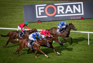 Red Persian and Kevin Manning in the centre winning the Foran Equine Irish EBF Auction Race, Leopardstown Photo: Patrick McCann