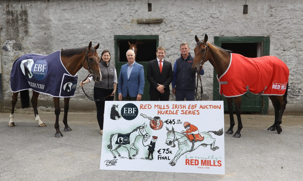 Nessa Joyce (Manager, Irish EBF), John O'Connor (Chairman, Irish EBF), Gareth Connolly (Sales and Marketing Director, Connolly's RED MILLS) and Tom Mullins, Trainer.