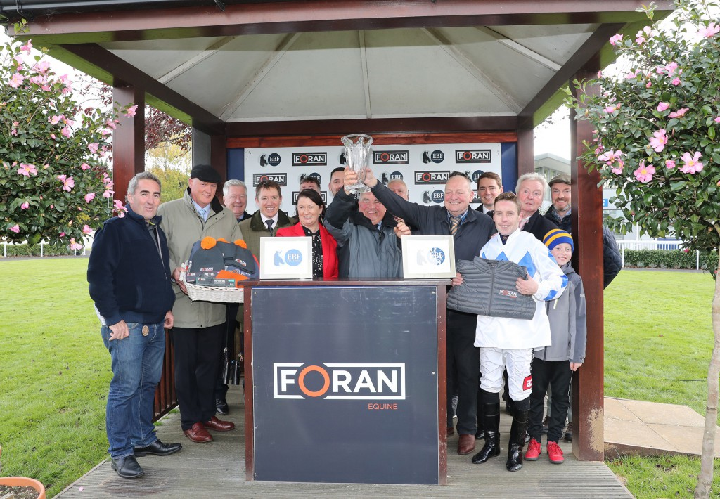 Naas Sun 20 October 2019 The presentation for The Foran Equine Irish EBF Auction Race Final won by Lustown Baba to The Back Road Syndicate, Willie McCreery and Leigh Roche